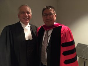 Honorary Doctorate recipient Bencher Julian Falconer read the formal citation at the ceremonies