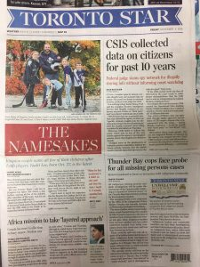 Bottom Right of the Toronto Star's Front Page: 'Thunder Bay cops face probe for all missing persons cases""