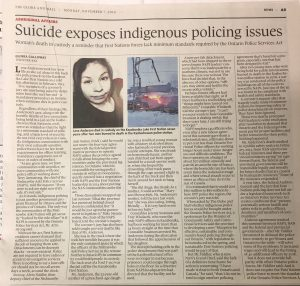 """Suicide Exposes Indigenous Policing Issues"" The Globe and Mail, November 7, 2016"